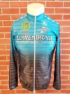 Vintage Giordana Sport Lowenbrau Italy Cycling Satin Blue Jersey Mens XL 5 NWOT
