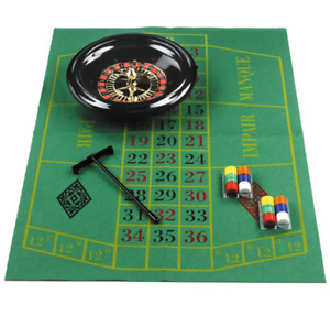"16"" Roulette Wheel Set with Felt, Chips, Cards & Rake for Casino Games UK"