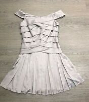 Brand New TED BAKER Grey Off Shoulder Pleated Dress Size 1 UK 8 Party Wedding