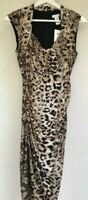 NWT Super Sexy Cache black brown animal print jersey lace-up dress women size M