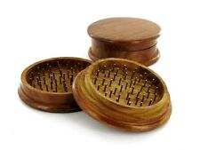 2 part Metal Teeth Brown Herb Tobacco CNC Spice Wooden Crusher Grinder UK