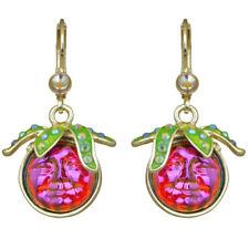 Kirks Folly Strawberry Seaview Water Moon Leverback Earrings goldtone