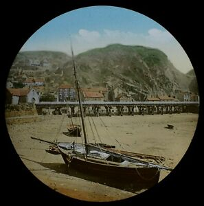Magic Lantern Slide BARMOUTH FROM THE JETTY C1887 PHOTO WALES HAND PAINTED