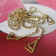 goldSexy Women's Adjustable Crystal Diamante Rhinestone Bra Shoulder Straps Belt