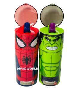Marvel Spiderman & Hulk Water Bottle Superhero Kids School Drinking Bottles Gift