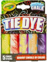 Crayola Washable Tie Dye Sidewalk Chalk, 5 Anti-Roll Chalk Sticks, Outdoor Toy