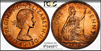 :1970 GREAT BRITAIN PENNY LOW POP KEY DATE PCGS PR66RD CHERRY RED HIGHEST GRADES