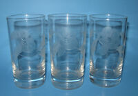 Set of 3 MORNING GLORY Glories Highball Glass Tumblers Glasses Etched Cut