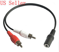 2 RCA male to Stereo Audio 3.5mm Female Jack Headphone Y Cable