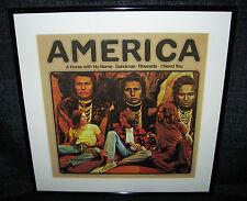 AMERICA America (Framed 1971 U.S. 12 Track Reissued LP)