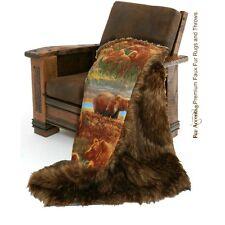 Premium Faux Fur Throw Blanket Brown Shag Bear Skin Sheepskin Fleece Lining