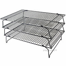 Set of 3 Non Stick Wire Stackable Cooling Racks Baking Cake Cooking Trays Stand