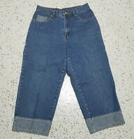 Women's Bill Blass Denim Capri Blue Jeans ~ Sz 8 ~ 100% Cotton