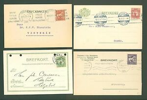 Postcard F06 SWEDEN 1913-1929 Service (4 pcs) Machine Slogan cancel