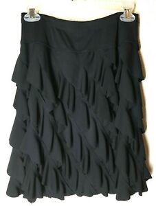 INC International Concepts Tiered Ruffled Black Skirt Womens Medium Salsa Dance