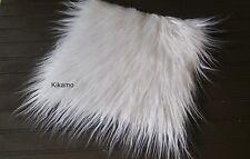 "10"" x 10"" Long Hair White Mongolian Faux Fur Fabric Sew Craft Trim Costume"