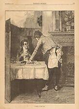 Restaurant, Cafe, Waiter, The Turkey Is Hoff, Sir!, Vintage 1881 Antique Print
