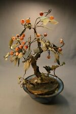 19th c. Antique Chinese White Jade Carnellion Bonsai Tree Dragon Cloisonne 12""