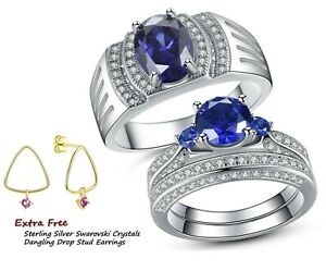 Sterling Silver Simulated Blue Tanzanite His Band Hers Sapphire Wedding Ring Set