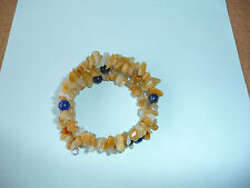 Memory Wire Bracelet made with Orange Adventurine Chips & Round Sodalite Beads