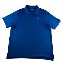 Under Armour Heat Gear Men's 2XL Polo Shirt Short Sleeve Loose Fit Blue
