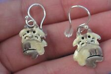 Sterling Silver Enamel Sealpoint Persian Cat Earrings, Over 1 inch drop, hook