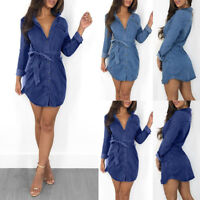 Womens Short Shirt Dress Denim Jean Long Sleeve Buttons Long Tops Blouse Belt