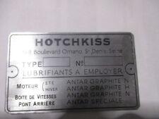 Typenschild Schild ID-plate Hotchkiss placca targhetta plaque constructeur s55
