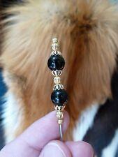 (U-255-4) 8 mm Black onyx 2 bead gold brass hatpin Pin hat pins Jewelry Hats