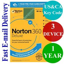 Norton 360 Deluxe 3 Device 1 Year + 25GB Backup + Safe VPN (US&CA Key Code) 2021
