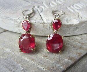 Chuck Clemency STS Sterling Silver & Gold Plate Ruby Gemstone Pierced EARRINGS