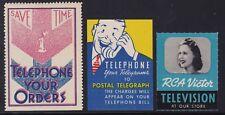 US Vintage Telephone,Telegraph & RCA Victor TV Cinderella Stamps (L09)