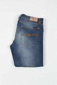 Nudie Jeans Tube Tom Org. Sang Bleu Straight Fit Blau Herren IN Größe 33/34