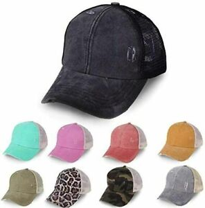 Baseball Cap Ponytail Hat High Messy Bun Ponycap for Women Washed Trucker Hats