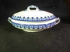 """F. Winkle & Co """"Savoy"""" Covered Oval Vegetable Flow Blue"""