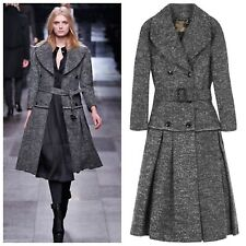 Burberry Prorsum RUNWAY Grey Virgin Wool Belted Coat Dress UK14 IT46 Best Offer