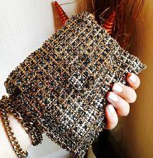 Zara Oro Metallizzato Gioiello Cristallo Borsa A Tracolla Messenger Handbag Clutch