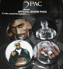 Tupac Shakur 2Pac Badge Set Official 4 x 38mm Badges