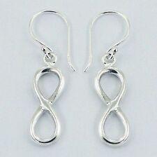 Sterling Silver Infinity Loop Dangly Hook Earrings Eternity Knot Genuine 925