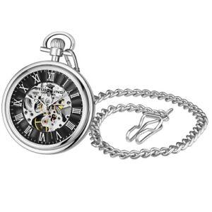 Stuhrling Original 3980 2 Mechanical Skeleton Mens Pocket Watch