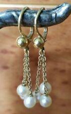 "18K gold elegant high fashion PEARL chandelier 1.5""L French drop dangle earrings"