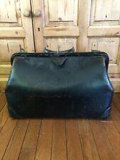 Vintage Antique Medical Doctors Bag Genuine Leather With Key