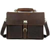 "Men's Vintage Thick Leather 15.6"" Laptop Briefcase Shoulder Bag Satchel Tote"