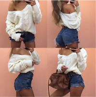 Women Top Long Sleeve V Neck Knitted Sweater Ladies Loose Casual Jumper Pullover