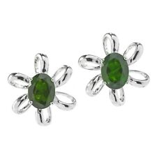 Pinctore Rhodium o/ Sterling Silver Chrome Diopside Oval Flower Stud Earrings