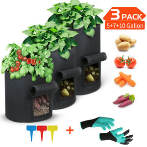 Potato Grow Planter Container Bag Pouch Root Plant Growing Pot Side Window