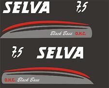 Adesivi motore marino fuoribordo Selva black bass 7,5 hp  gommone barca stickers