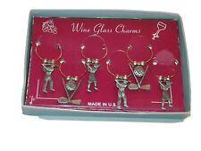 Wine Glass Charms Identifiers Golf Theme. Set of 6