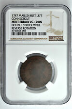 1787 Mailed Bust Left Connecticut Mint Error NGC VG 10 BN Double Struck