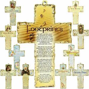 "WOOD CROSS wooden 6"" Hanging Wall Crucifix Prayer Verse Christian Religious Gift"